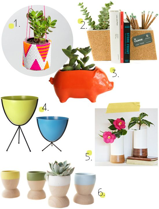Planters and vessels for succulents air plants.
