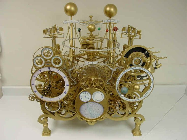 This clock has a 400 year perpetual calendar, shows the equation of time, sidereal time, sun/moon rise and set, moon's phase and age, tides, solar/lunar eclipses, has a planisphere, tellurium, and full-featured orrery to Saturn with functional moons amongst other things.