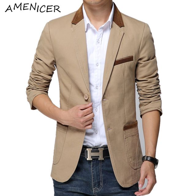 New Mode 2016 Blazer Pria Slim Fit Setelan Tunggal Breasted kasual Khaki Traje Chaqueta Hombre Mens Jas Dan Blazer 3 warna
