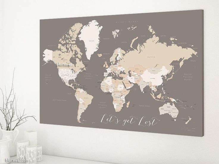 Custom Quote Printable World Map With Countries Us States Canadian Provinces Labeled Color Combination Earth Tones