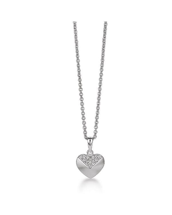 Denne fine halskæde i rhodineret sølv passer til alle lejligheder. Fin i sit todelte design, hvor det øverste af hjertet er pyntet med zirkoniasten, mens den nederste del har mat overflade. Halskæden fås med matchende ørestikker.