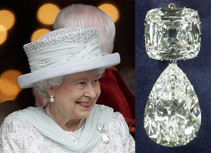 "Most valuable in the Queen's collection and the most valuable brooch in the world - it only been worn by Queen Elizabeth II approximately half a dozen times. Affectionately dubbed ""Granny's Chips"", after Queen Mary, it consists of the Cullinan III and the Cullinan IV - a 94.4ct pear-shape diamond hanging from a 63.6ct square-cut diamond, both of which were taken out of Queen Mary's tiaras. Queen Elizabeth II inherited it when her grandmother passed away in 1953."