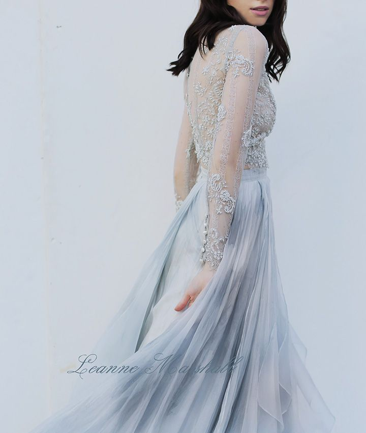 Leanne Marshall wedding gown from Denver Bridal Shop, Emma & Grace Bridal Studio || Long sleeve beaded and blue wedding dress || See more at Emmaandgracebridal.com #LM #LeanneMarshall #bride