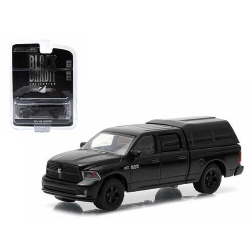 2014 Dodge Ram 1500 Pickup Truck With Camper Shell Black Bandit Series 12 1/64 Diecast Model by Greenlight
