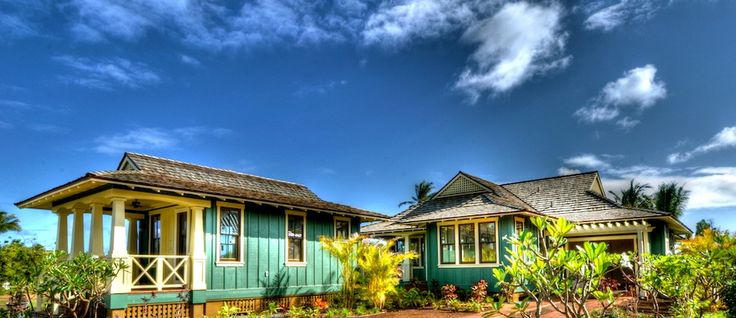 Nice color combination note the board and batten look for Hawaiian plantation architecture