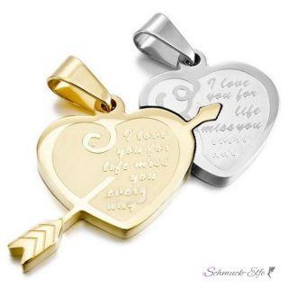 Partnerketten Herz I LOVE YOU FOR LIFE  Edelstahl gold...