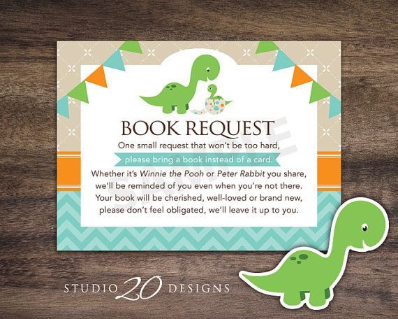 "Instant Download Dinosaur Book Request for Boy Baby Shower by Studio20Designs. This dinosaur Book in Lieu of Card notice is 3.5""x4.75"" and comes 4-up on a sheet. Mail one with your invitation for the baby shower to help the mom-to-be stock up on great children's books!"