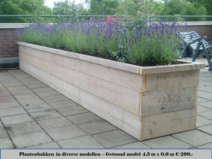 Reclaimed wood planter with lavender