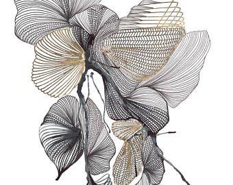 Arte abstracto contemporáneo - negro, blanco y oro - tinta, pluma y hoja de oro sobre papel Bristol