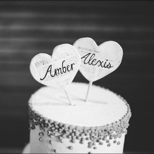 Custom Name Cake Topper, Music Wedding Cake Topper, Music Wedding, Lesbian Cake Topper, Lesbian Wedding Cake Topper, Music Cake Topper by SaraDavisDesigns on Etsy https://www.etsy.com/listing/480713592/custom-name-cake-topper-music-wedding
