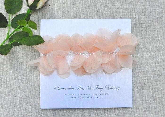 Unique apricot floral blush wedding invitation