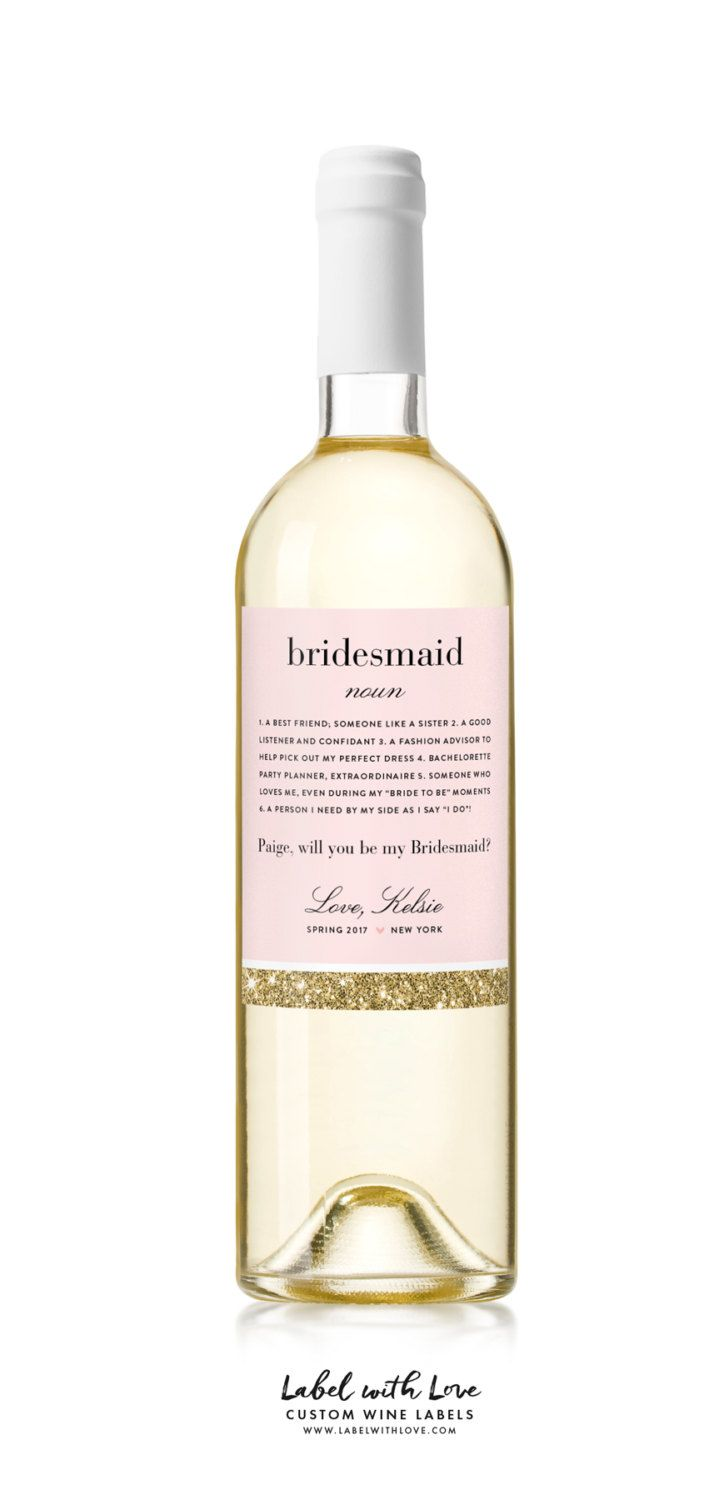 Bridesmaid Wine Bottle Label - Custom Bridesmaid Proposal Gift - Asking Bridesmaid Will You Be My Bridesmaid Gift  Our custom wine and champagne labels are the perfect way to pop the question! Ask your ladies to be your Bridesmaid and Maid of honor is a special and unique way.   ♥ LABEL DESIGN ▬▬▬▬▬▬▬▬▬  BRIDESMAID/MOH noun  1. A best friend; someone like a sister 2. A good listener & confidant 3. A fashion advisor to help pick out my perfect dress 4. Bachelorette Party Planner…
