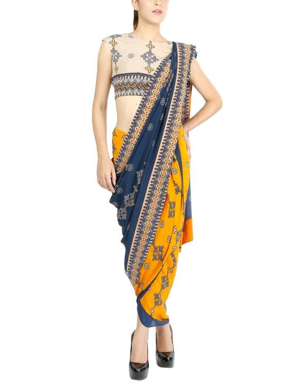 Mustard and blue draped sari    Striking combination of bright mustard and deep blue, this draped sari is all you need to look fabulous and stay comfortable at the same time. The set includes an off white crop top, which can also be paired up with flared palazzo pants or floor length maxi skirts, as per your mood!