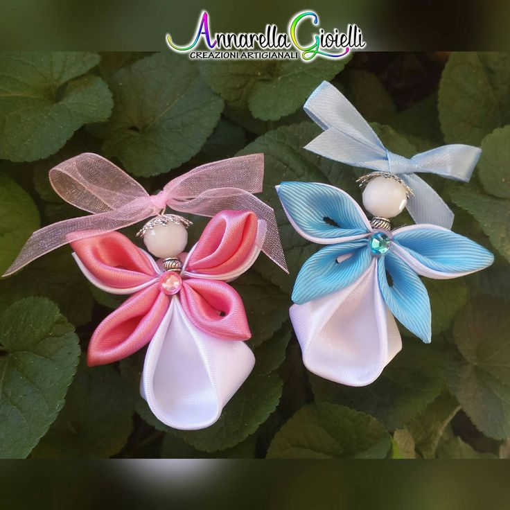 Kanzashi angel, 4 pcs, decoration, flower decoration, baptism, christmas ornament, kanzashi tsumami, fabric angel, favor tag. di annarellagioielli su Etsy