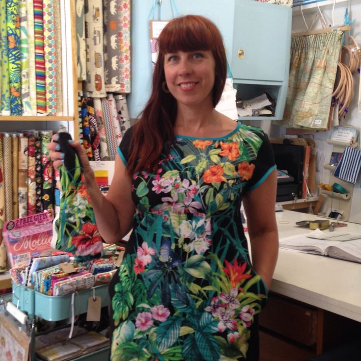 Camber dress pattern from merchant n mills made from a tropical print
