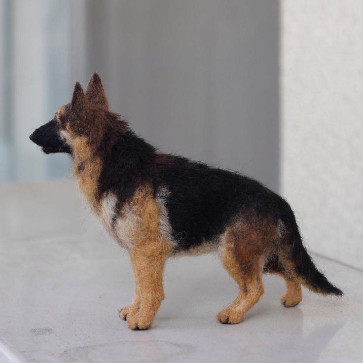 Needle felted super realistic German Shepherd Dog