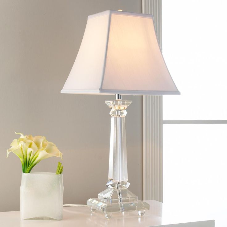 Tapered square crystal column table lamp a refreshing for Living room lamp shades