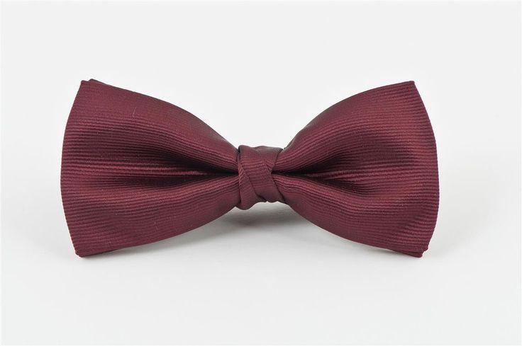 Burgundy Self Stripe Bow Tie