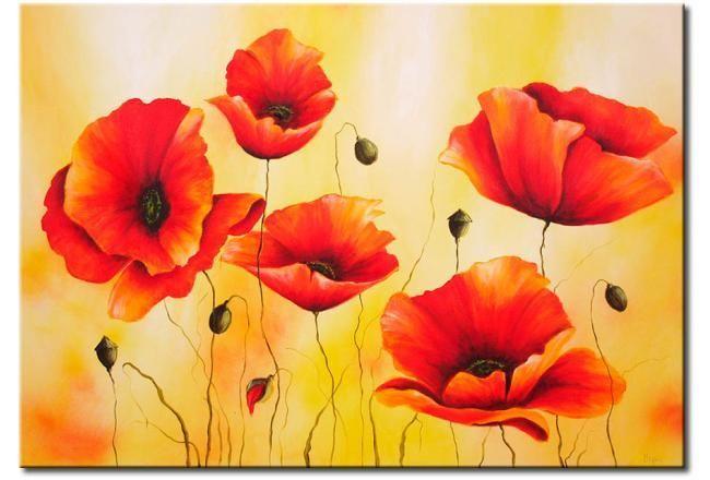 Leinwandbild Subtile Mohnblume Blumen Bunter Mohn Mohn Blumen Poppies Painting Blumen Bunter Leinwandbild Mohn Malerei Kunstmalerei Blumen Mohnblume