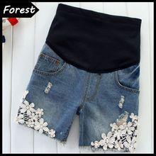 Kpop летние отверстие кружева шорты беременных джинсы брюки для беременных брюки женская одежда для беременных бесплатная доставка(China (Mainland))