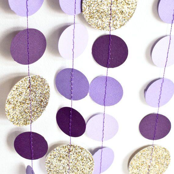 Purple & Gold 10ft Paper Garland Birthday by DesignElementsByErin