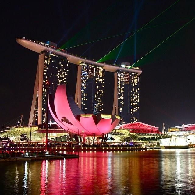 With innovative design, food, and architecture, discover the lay of the land in #Singapore.     Photo courtesy of plifkatravels on Instagram from the Light and Water Show, Marina Bay Sands, Singapore