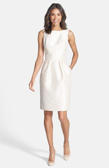 Rehearsal dinner dress possibility...like the back and the peral pink colorAlfred Sung Boatneck Sheath Dress available at #Nordstrom
