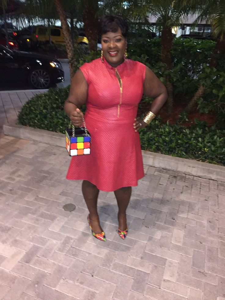 Sexy red quilted leather dress!  Plus size women's fashion  Floral D'Orsay Pumps Rubrics Cube Bag  Classy and sexy fashion