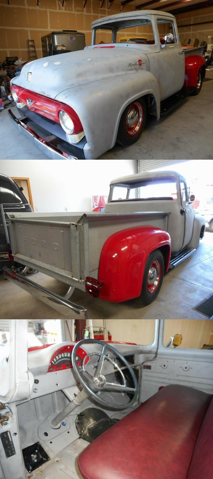 Custom 1956 Ford F 100 Big Window Pickup Project Project Cars For Sale Vintage Trucks For Sale Big Windows