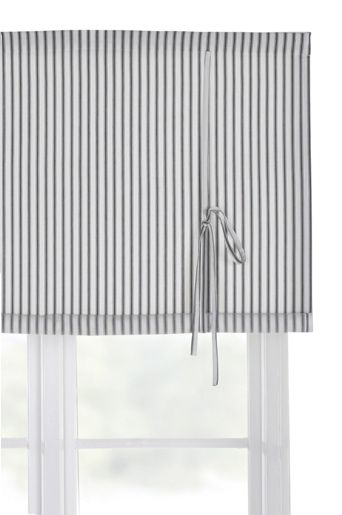 Gray and white stripy roll-up curtain