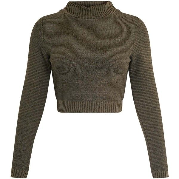 Khaki Ribbed Crop Knitted Jumper ($9.52) ❤ liked on Polyvore featuring tops, sweaters, chunky knit jumper, rib sweater, thick knit sweater, jumper crop top and knitwear sweater