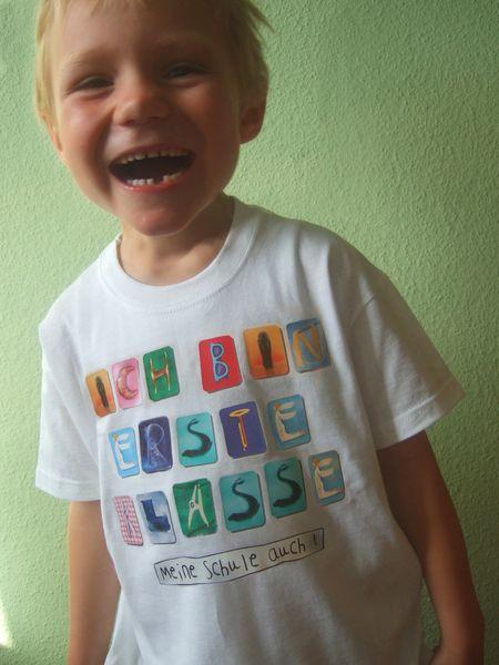 Schulanfang Shirt für erste Klasse, weiss