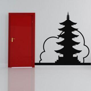 Наклейка по тематике от 2stick.ru Японская пагода на фоне облака