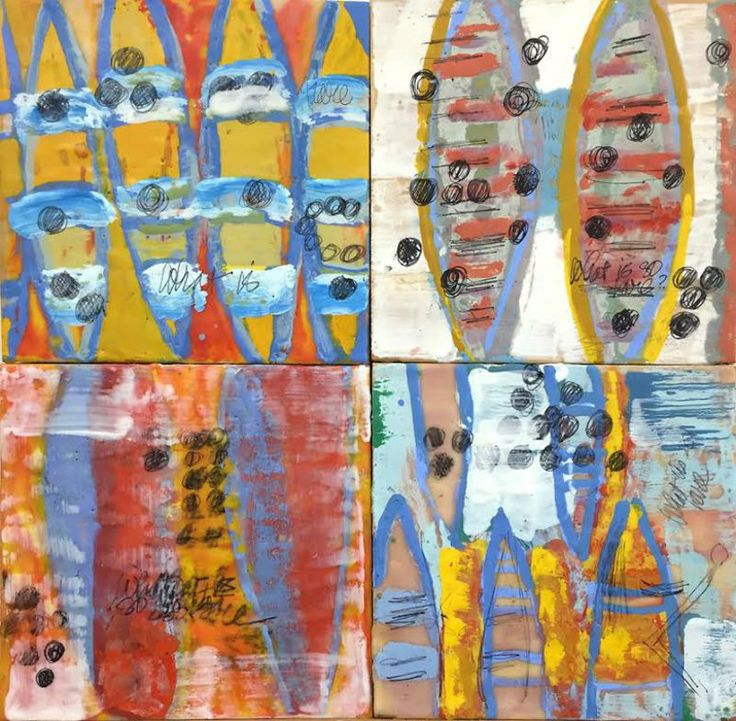 Joan Stuart Ross, What is so Rare - Boats || Encaustic, carbon on wood || 16 x 16
