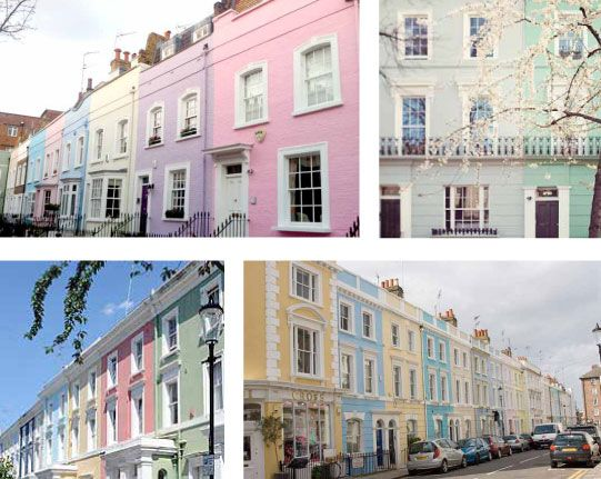 Pastel houses, Portobello Road Market near Primrose Hill