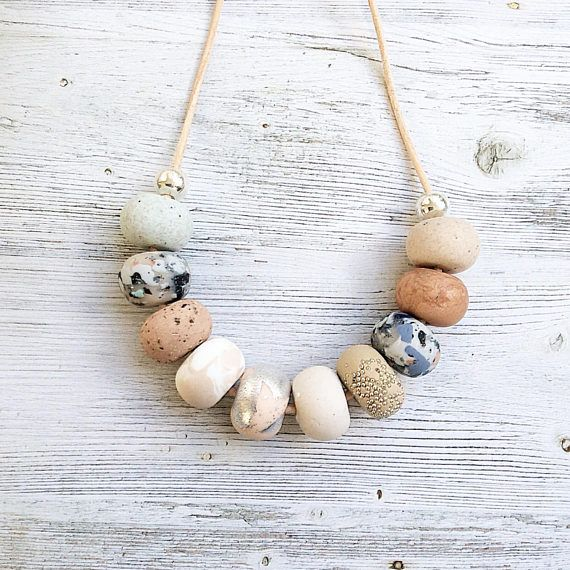 Soft pastel neutrals  greys nude and silver handmade