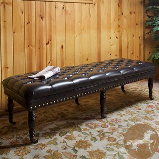 Christopher Knight Home Hastings Brown Tufted Bonded Leather Ottoman Bench.  Maybe a bench instead of more chairs?