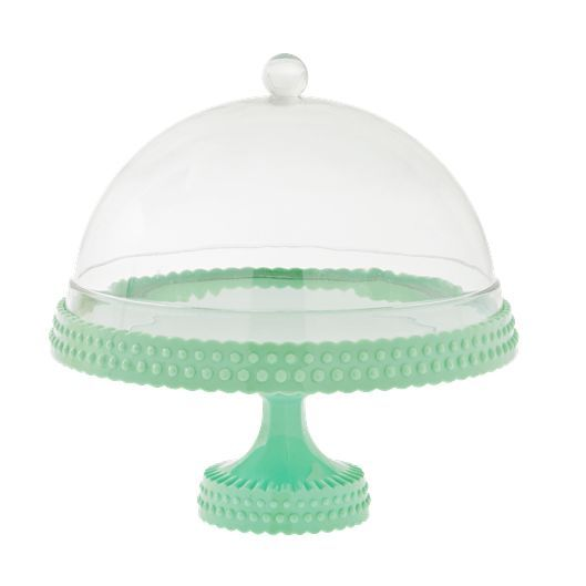 Minty Fresh Cake Plate with Dome