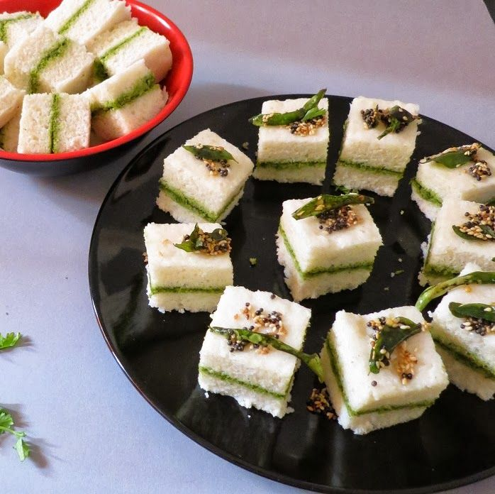 Sandwich dhokla-Savoury steamed lentil and rice cake-speciality from the state of Gujarat