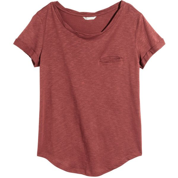 H&M Jersey top (210 MXN) ❤ liked on Polyvore featuring tops, t-shirts, shirts, blusas, red t shirt, red top, short sleeve t shirt, twisted tees and curved hem tee