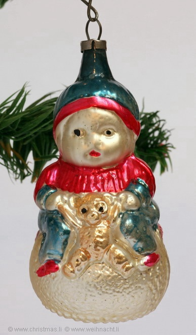 antique german baby girl w bear ornament