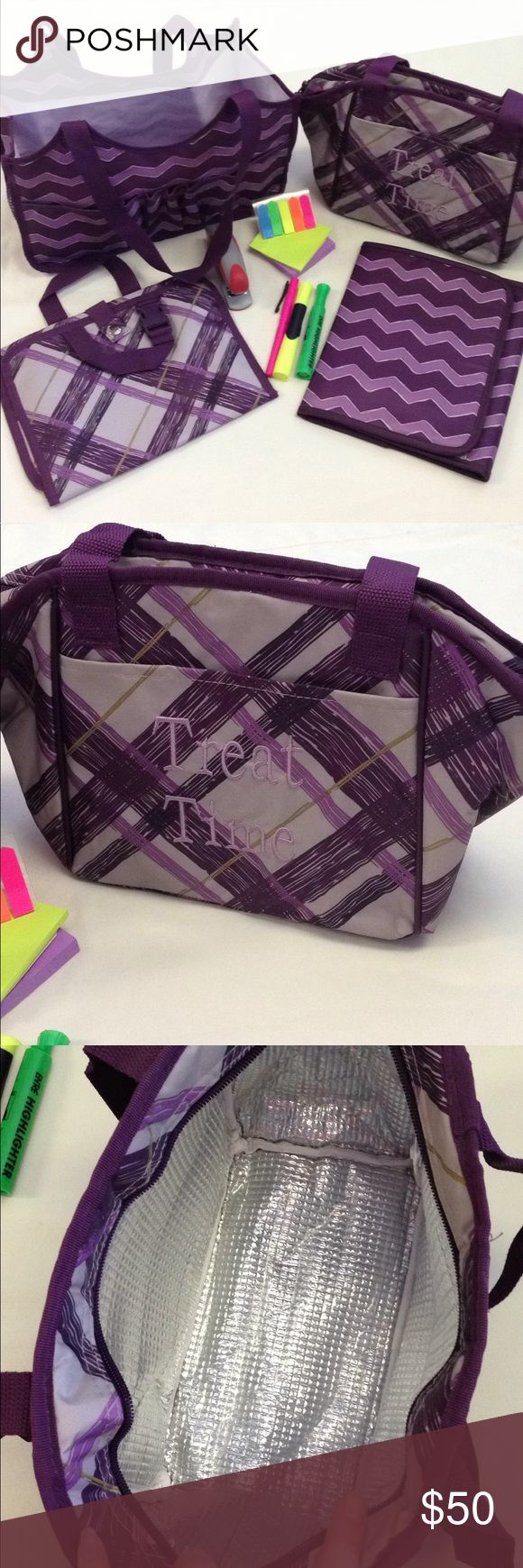 Bundle of 4 thirty-one purple chevron print bags This awesome bundle includes a large tote, insulated lunch box, organizer, and tablet case/organizer. The tote and organizer are in like new condition and the tablet case and lunch box are very gently used. All in excellent condition!   Tote-two front pockets, pencil holders, and 2 size mesh pockets. 13x6.5x7.6 Lunch box- front open pocket and zipper pocket. 10x6x8  Tablet-not sure what kind of talent it holds. Measures 10x8 Organizer 11x9…