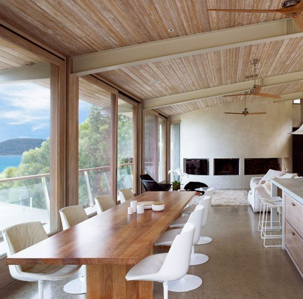 steel / hardwood portal frame with timber sarking for ceiling  Striking glass and timber pavilion: Ocean House