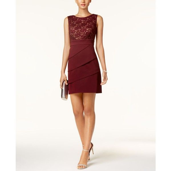 Connected Tiered Lace Sheath Dress, Regular & Petite Sizes ($79) ❤ liked on Polyvore featuring dresses, marroon, holiday party dresses, white lace dress, going out dresses, white cocktail dress and tiered lace dresses