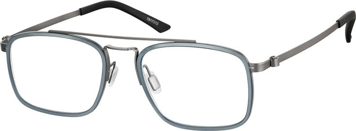 Zenni Mens Rectangle Prescription Eyeglasses Gray Mixed