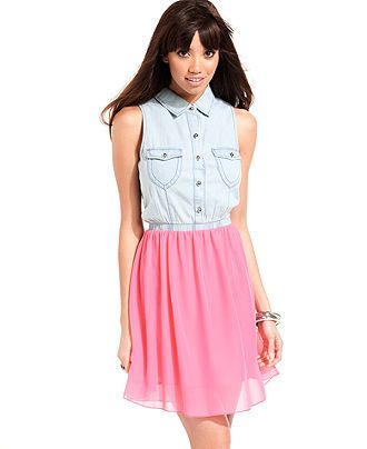 Ali & Kris Juniors Dress, Sleeveless Chambray Chiffon - Juniors Dresses - Macy's