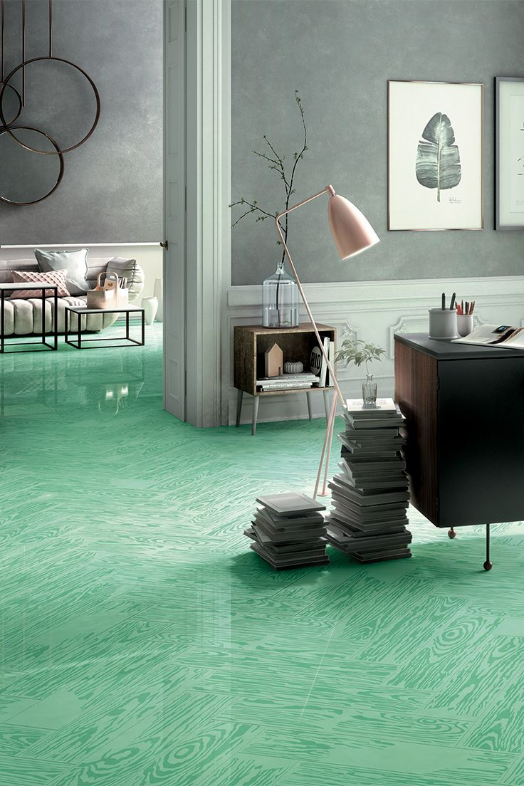 PoP Green | | The #PoPjob colour range includes six #colours characterised by neutral and pastel tones | #design #designinspirations #interior #interiordesign #studiojob #porcelaintile #studio #woodeffect #office #green #ceramic