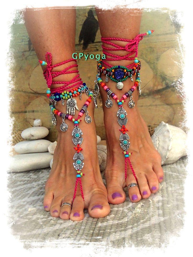 Caliente BIKINI rosa pies descalzos sandalias tribales Ibiza