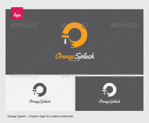 Orange Splash Studio  #GraphicRiver         Creative logo design with brushes and paint symbol combined as letter 'O'.