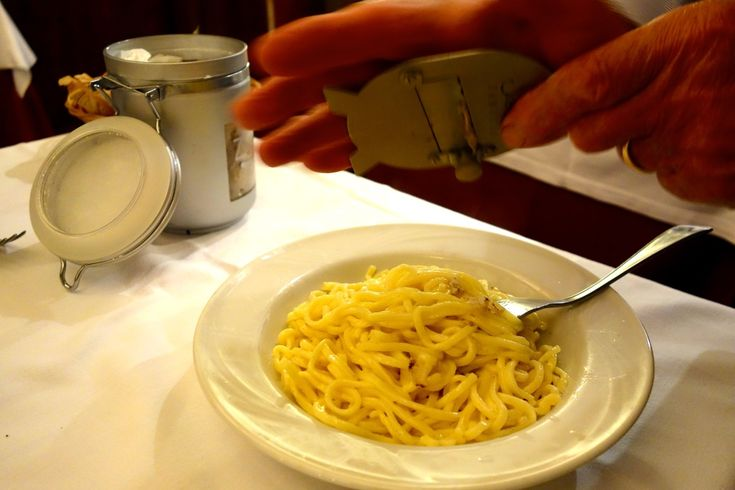 tagliatelle with white truffles at settimio in rome